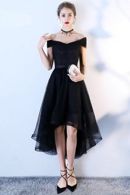 Black Tulle High Low Homecoming Dress Off Shoulder Sleeves - BLS86003