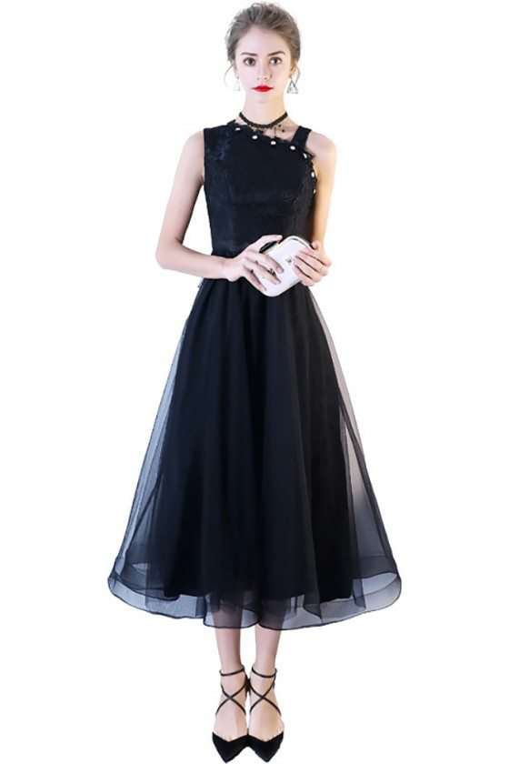 Black Lace Tulle Midi Party Dress with Irregular Shoulder - BLS86007