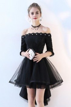 Off Shoulder High Low Homecoming Dress Tulle with Sleeves - BLS86041