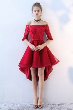 Red Lace Tulle Homecoming Prom Dress Off Shoulder Sleeves High Low - BLS86052