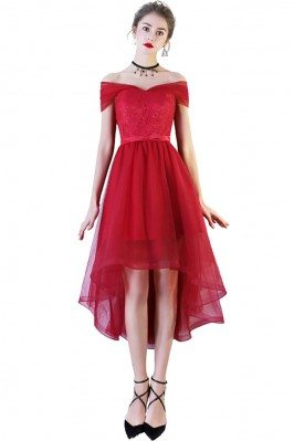 Red Lace Tulle Homecoming Party Dress High Low with Off Shoulder - BLS86005