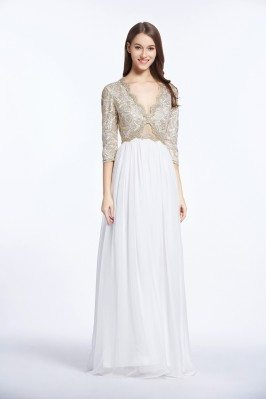 Sexy V-neck 3/4 Sleeve Long Formal Gown