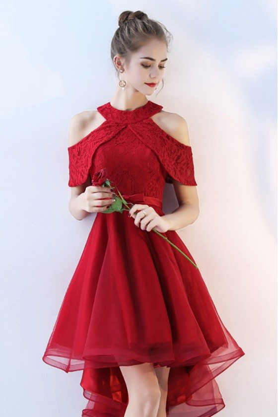 Burgundy Short Tulle Homecoming Party Dress Lace Cold Shoulder - BLS86054