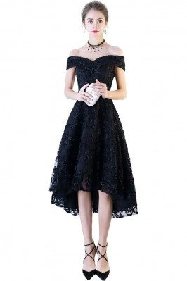 Black Lace Off Shoulder Prom Party Dress High Low - BLS86098