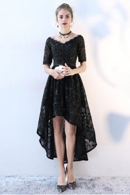 Chic Lace High Low Black Homecoming Dress with Sleeves - BLS86045