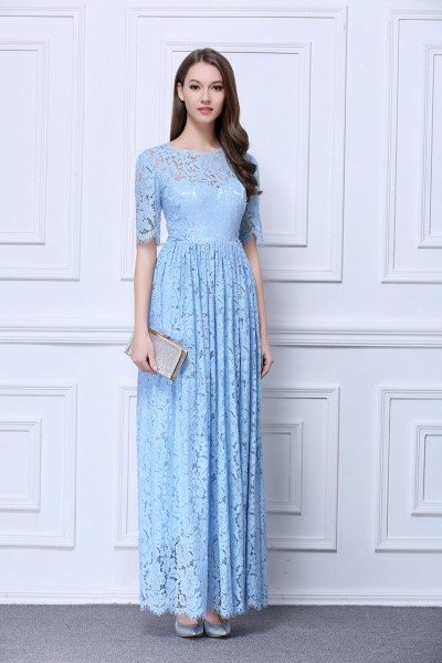 Lace Short Sleeve Long Party Dress