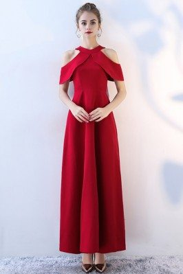 Elegant Long Red Halter...
