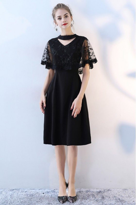 Classy Lace Cape Sleeve Short Black Formal Dress with Sleeves