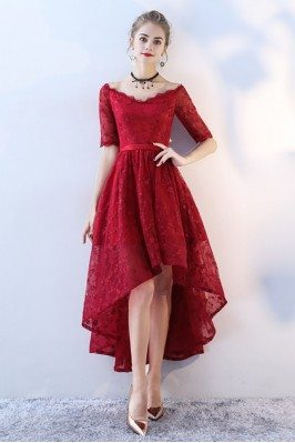 Burgundy Lace High Low Prom Homecoming Dress Vneck with Sleeves - BLS86053
