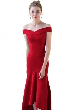 Burgundy Red Fitted Mermaid Party Dress Off Shoulder - BLS86122
