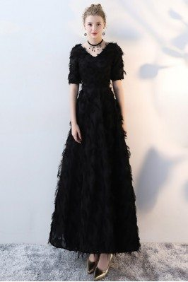 Black Feathers Elegant Long...