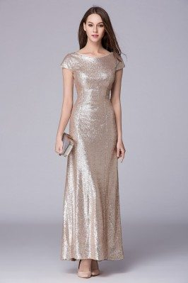 Sheath V Back Sequin Long Dress