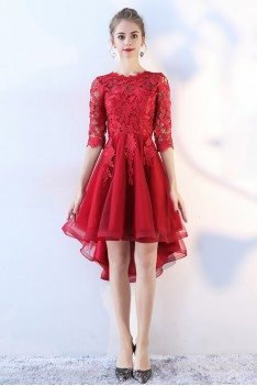 High Low Red Lace Prom Homecoming Dress with Lace Sleeves - BLS86090