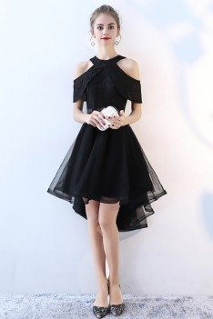 Chic Black Tulle High Low Homecoming Prom Dress - BLS86042