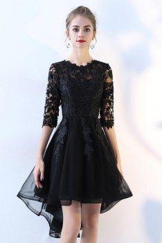 Lace Half Sleeve High Low Black Prom Dress - BLS86046