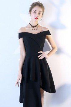 Chic Black High Low Party Dress Off Shoulder - BLS86014