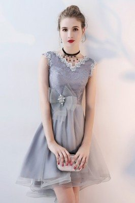 Grey Tulle Vneck Short...