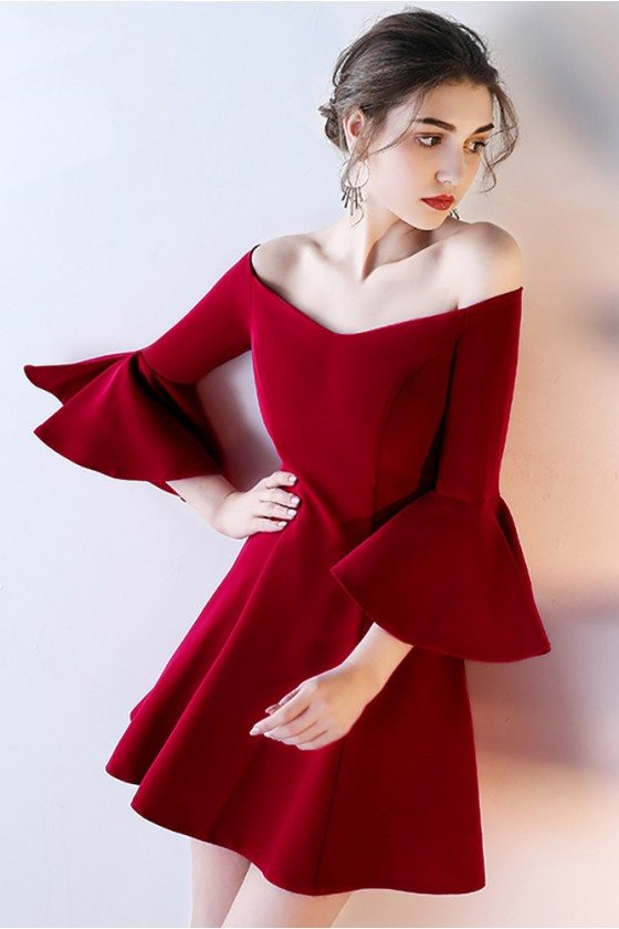 Short Off Shoulder Homecoming Dress Flare with Bell Sleeves - HTX86097