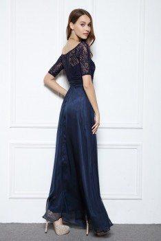 Chiffon Lace Half Sleeve Long Prom Dress - CK559