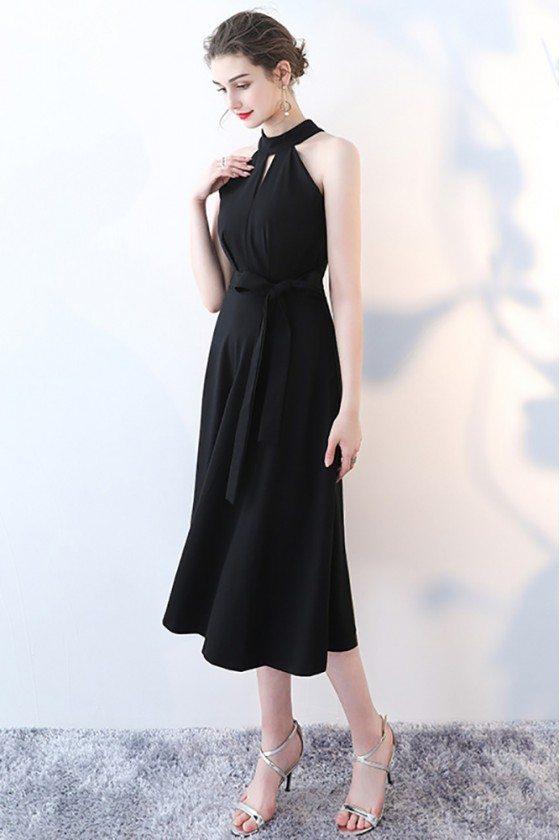 Elegant Tea Length Black Party Dress Halter with Sash - HTX86078