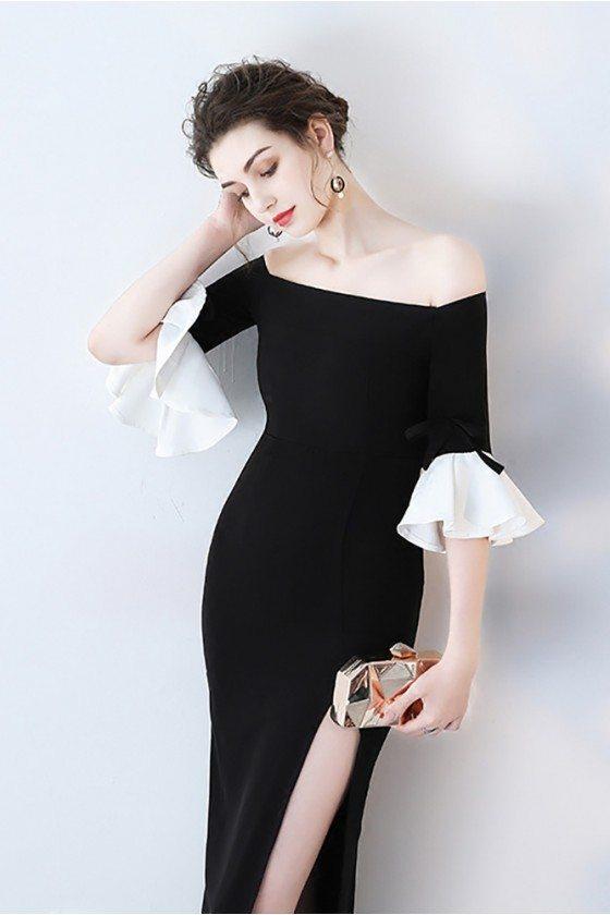 Black Off Shoulder Side Slit Party Dress with Bell Sleeves - HTX86046
