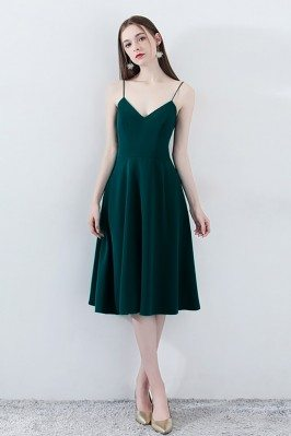 Chic Dark Green Homecoming Dress Bow Back V-neck with Straps - HTX86117