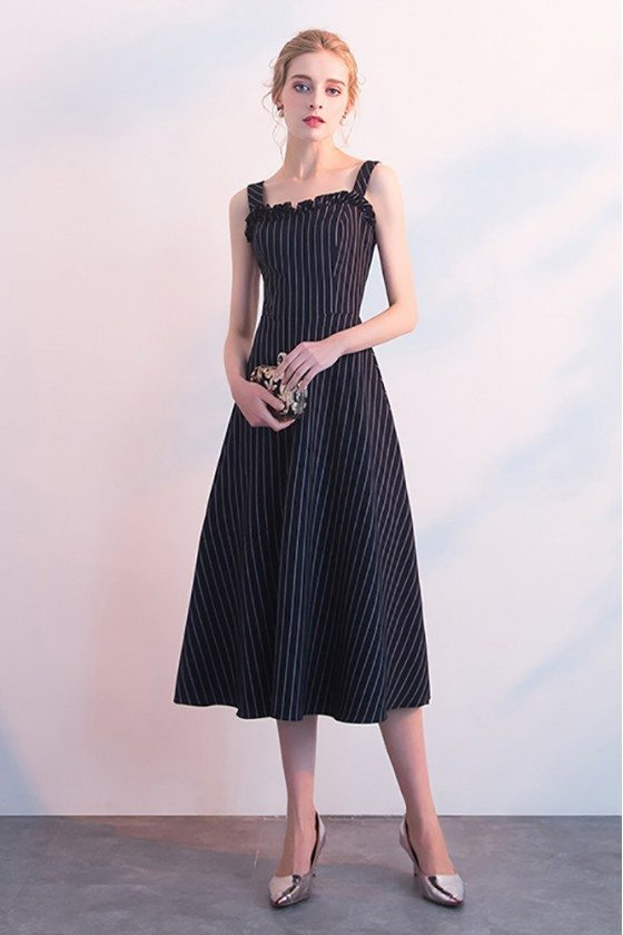 Striped Navy Blue Midi Casual Party Dress with Straps