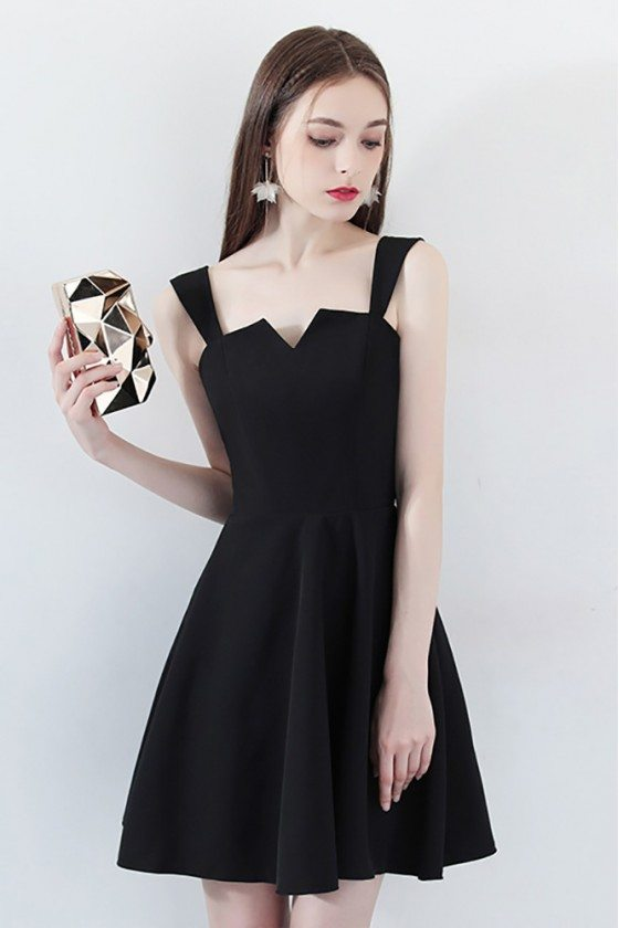 Little Black Homecoming Party Dress Aline with Straps