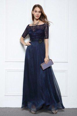 Chiffon Lace Half Sleeve Long Prom Dress