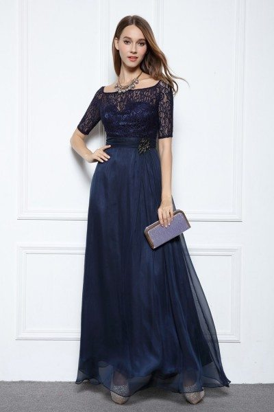 Chiffon Lace Half Sleeve Long Prom Dress
