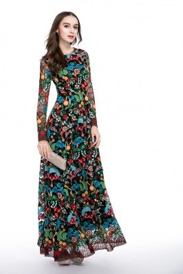 High-end Designer Colorful Embroidery Long Sleeve Dress