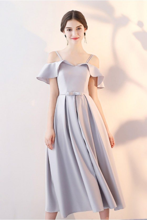 Grey Midi Homecoming Party Dress with Flounce Straps