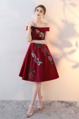 Burgundy Embroidered Party...