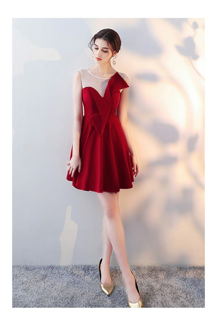 Cute Bow Short Homecoming Dress Red Flare With Sheer Neck