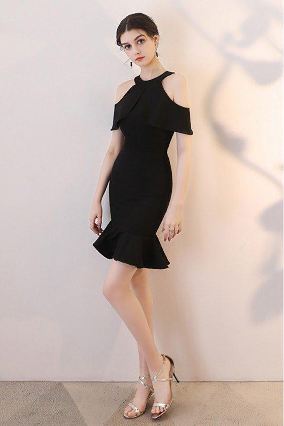 Short Black Mermaid Party Dress Halter with Flounce
