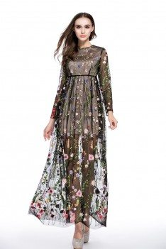 See-through Embroidery Long Sleeve Dress