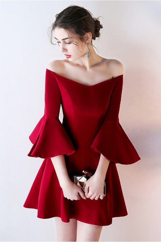 Burgundy Off Shoulder Short Homecoming Dress with Bell Sleeves - HTX86016
