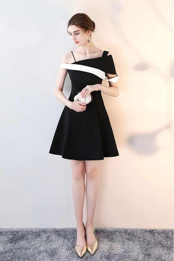Black and White Short Homecoming Dress Aline with Straps