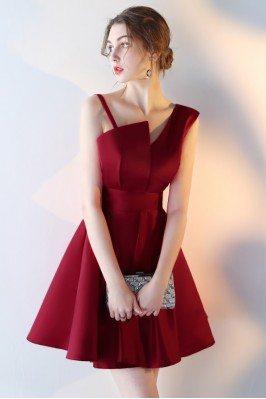 Short Aline Burgundy Red...