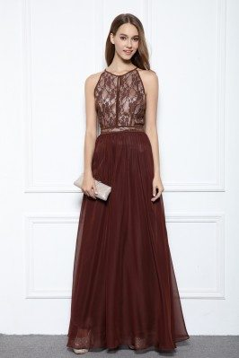 Sleeveless Lace Chiffon Ball Dress