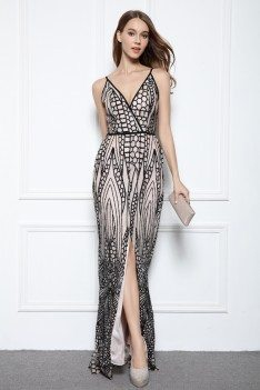 Designer V-neck Embroidery Slit Formal Dress