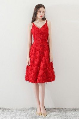 Red Knee Length Party Dress...