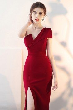Sexy Slit Burgundy Fitted Prom Dress with One Shoulder - HTX86001