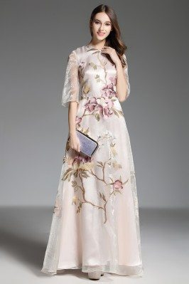 Organza Embroidery Flowers Long Party Dress