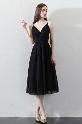 Tea Length Black Party Dress V-neck with Spaghetti Straps - HTX86019