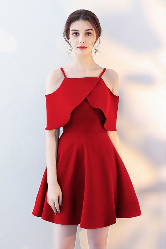 Short Red Homecoming Party Dress with Flounce Sleeves - HTX86035