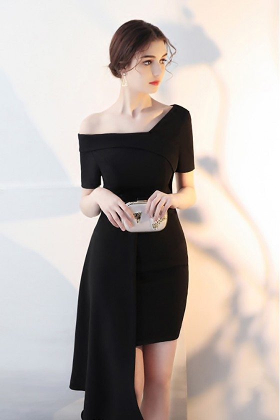 Black Asymmetrical Formal Short Homecoming Dress with Sleeves - HTX86008