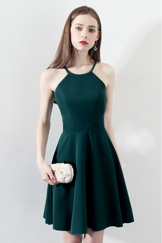 Slim Dark Green Aline Short Homecoming Dress Halter - HTX86092