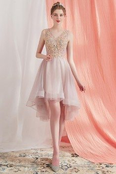 Pretty Short Party Homecoming Dress High Low Beaded Lace V-neck - AMA86001