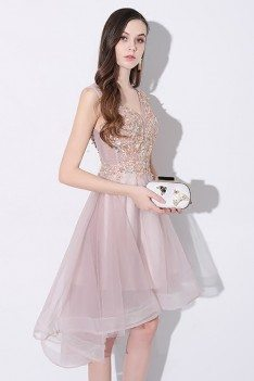 Gorgeous Tulle V-neck Homecoming Prom Dress High Low Sleeveless - AMA86005